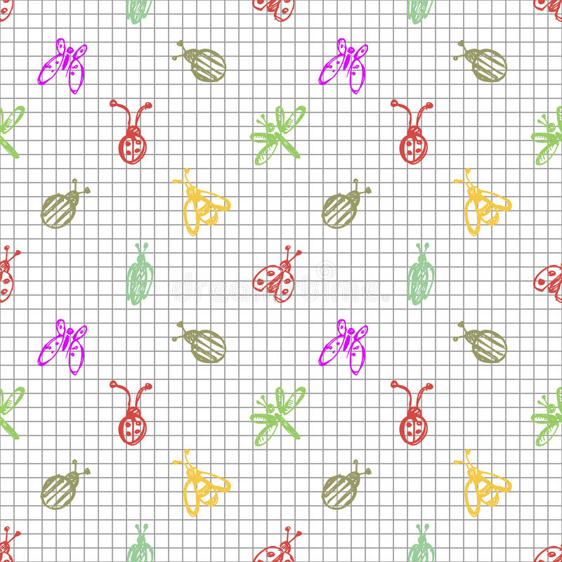 Seamless vector pattern with insects, background with ladubugs, wasps, beetle, butterflies and dragonflies. Hand sketch drawing. Imitation of ink pencilling royalty free illustration