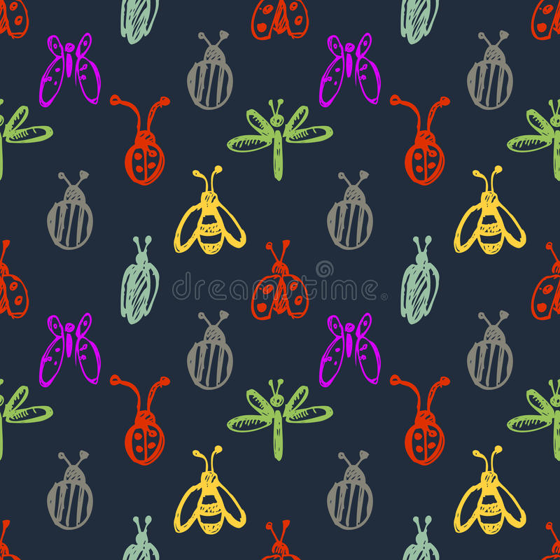 Seamless vector pattern with insects, background with ladubugs, wasps, beetle, butterflies and dragonflies. Hand sketch drawing. Series of Insects and Hand stock illustration
