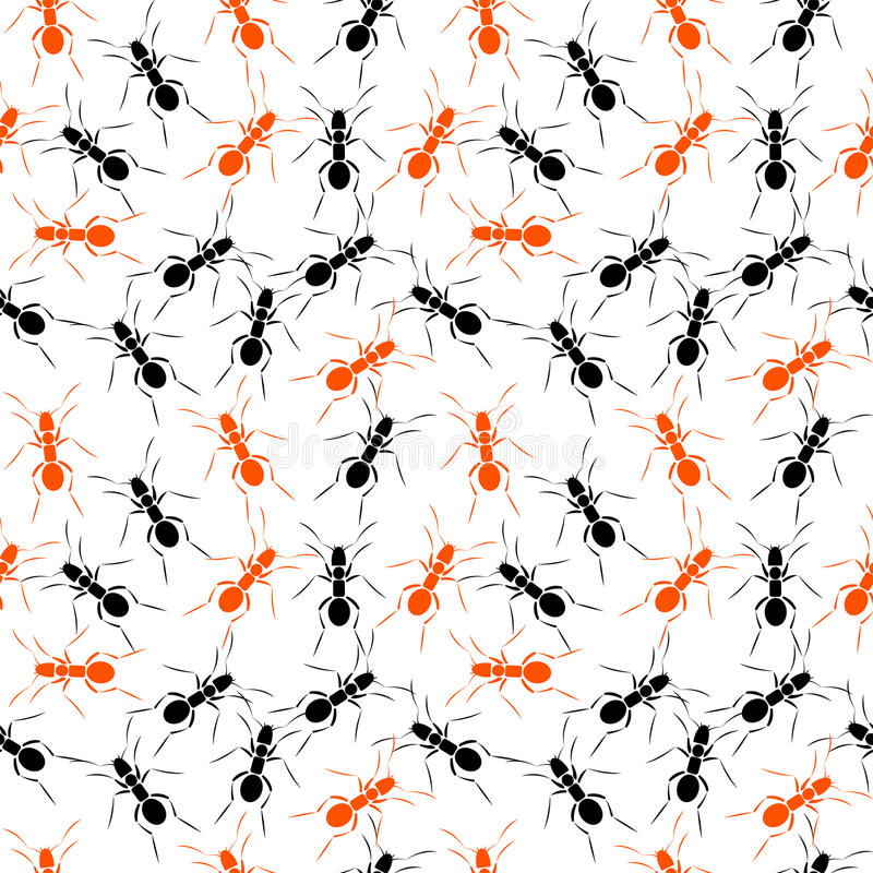Seamless vector pattern with insects, chaotic background with black and red ants.  vector illustration
