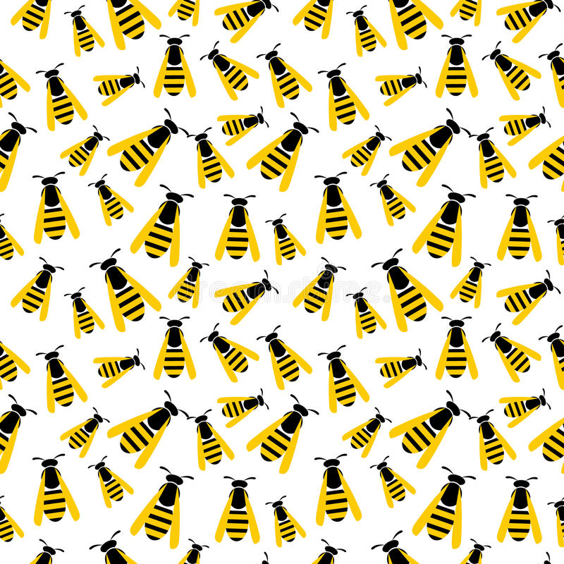 Seamless vector pattern with insects, chaotic background with yellow wasps on the white backdrop.  stock illustration