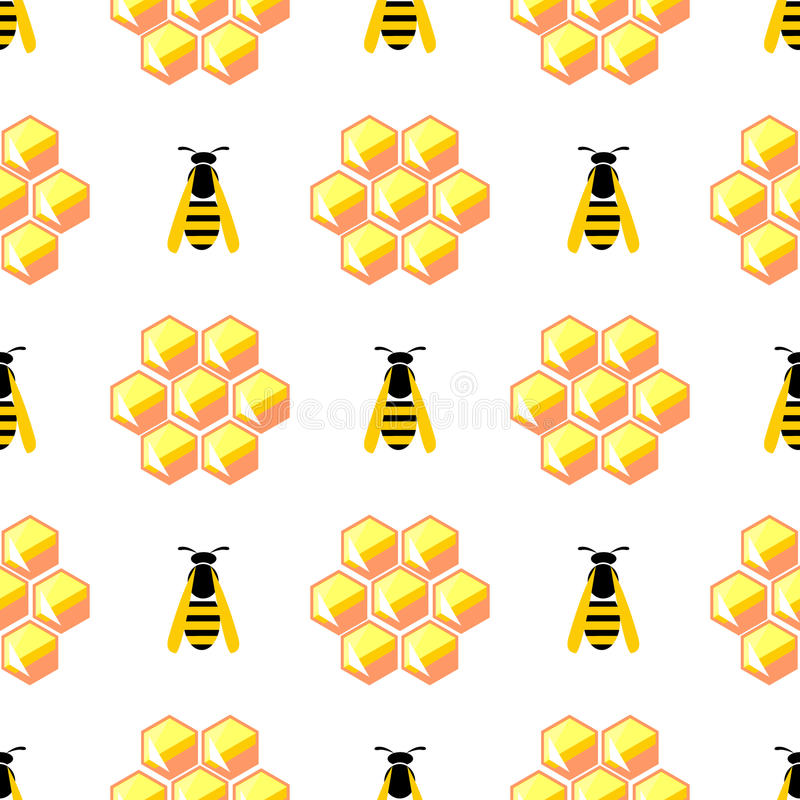 Seamless vector pattern with insects, symmetrical background with yellow honeycombs and wasps on the white backdrop.  vector illustration