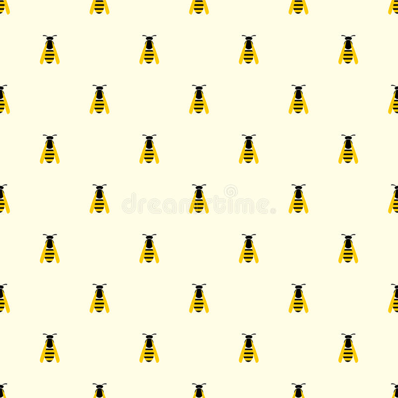 Seamless vector pattern with insects, symmetrical background with yellow wasps on the light backdrop.  royalty free illustration
