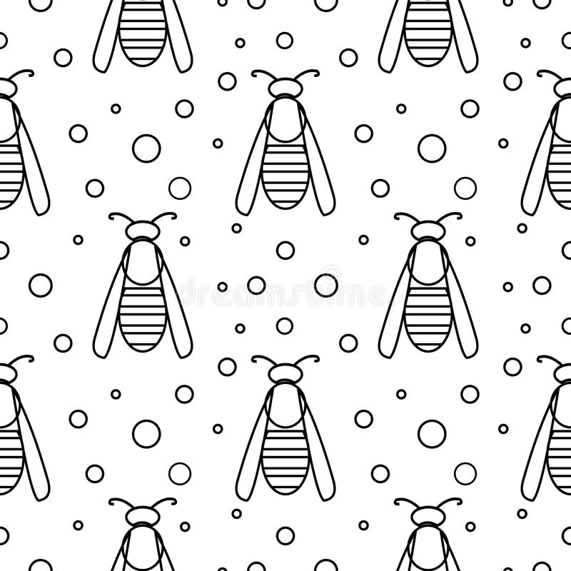 Seamless vector pattern with insects, symmetrical black and white background with wasps and dots.  vector illustration