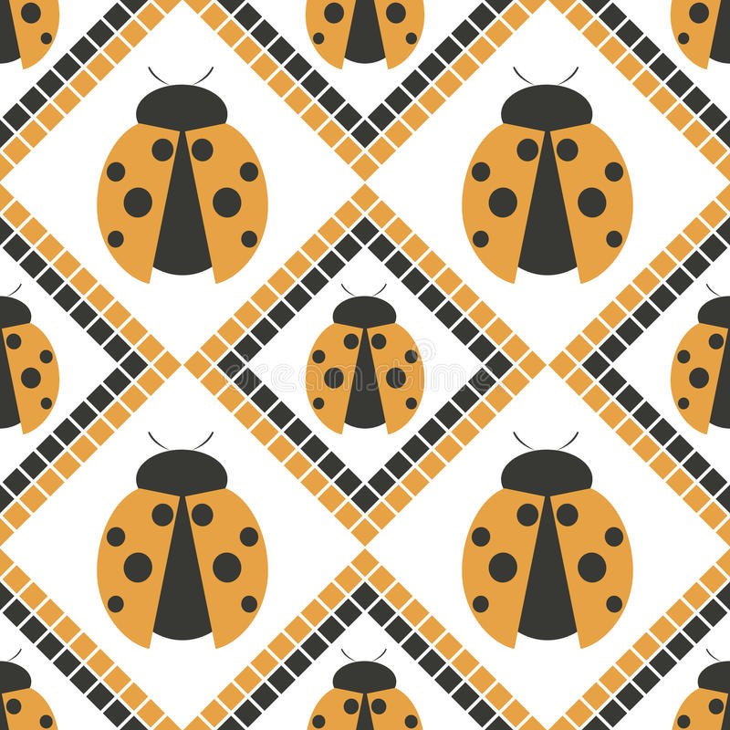 Seamless vector pattern with insects, symmetrical geometric orange background with ladybugs. Decorative repeating ornament royalty free illustration