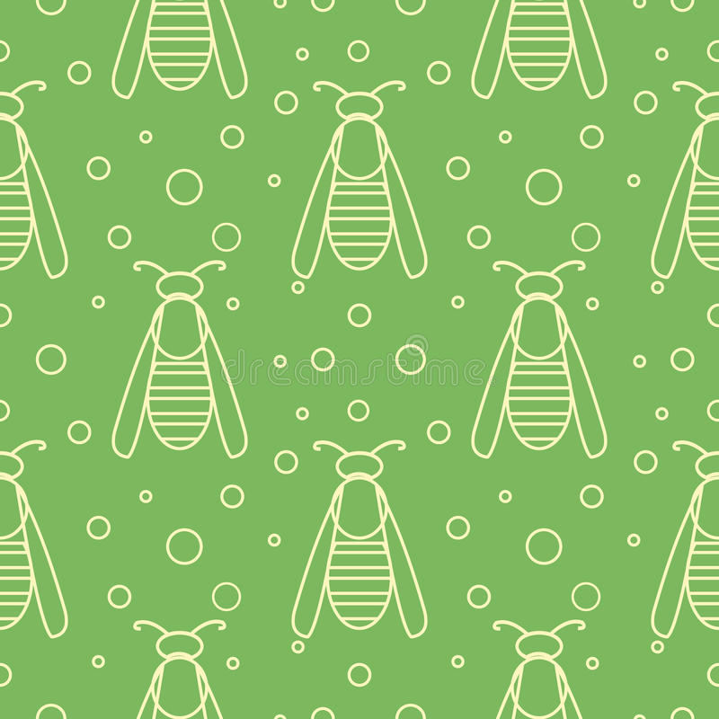 Seamless vector pattern with insects, symmetrical green background with wasps and dots.  royalty free illustration