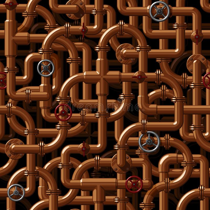 Seamless vector pattern of interlacing copper water pipes with valves. On a dark background stock illustration