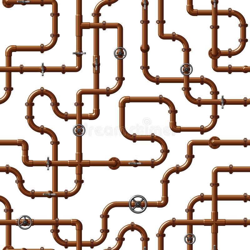 Seamless vector pattern of interlocking copper water pipes with valves. On white background royalty free illustration