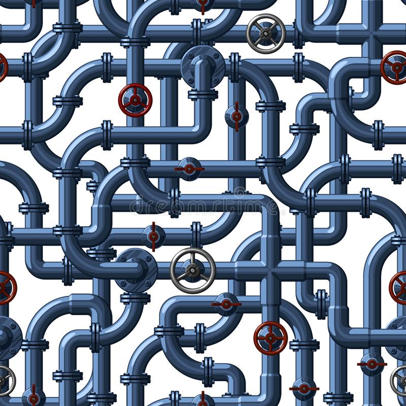 Seamless vector pattern of interlocking water pipes of a blue shade with red and gray valves and taps vector illustration