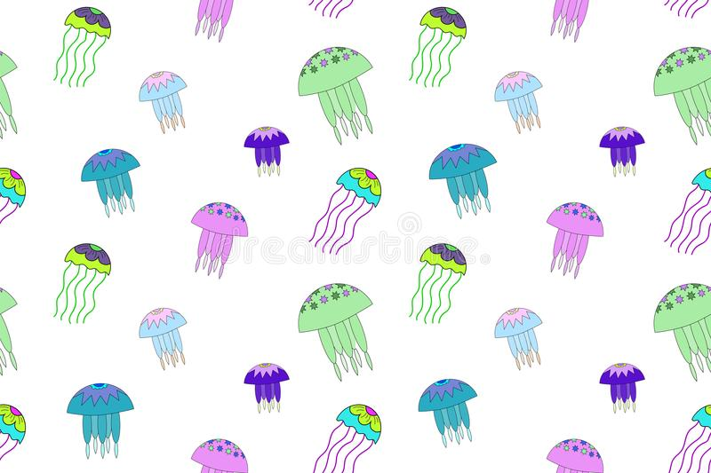 Seamless vector pattern with jellyfish illustration. White background, neon, green, pink, blue. Seamless vector pattern with jellyfish illustration. Print for royalty free illustration