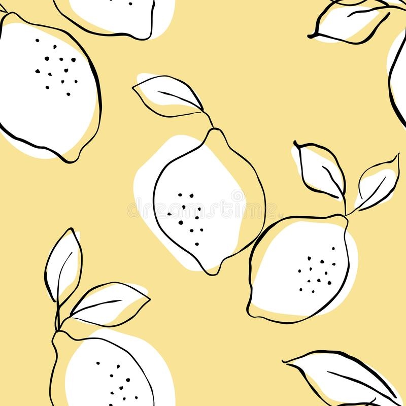 Seamless vector pattern with juicy lemons.Lemons background. Hand drawn overlapping backdrop. Seamless pattern with citrus fruits stock illustration