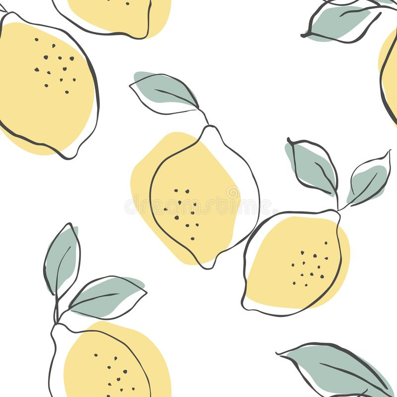 Seamless vector pattern with juicy lemons.Lemons background. Hand drawn overlapping backdrop. Seamless pattern with citrus fruits royalty free illustration