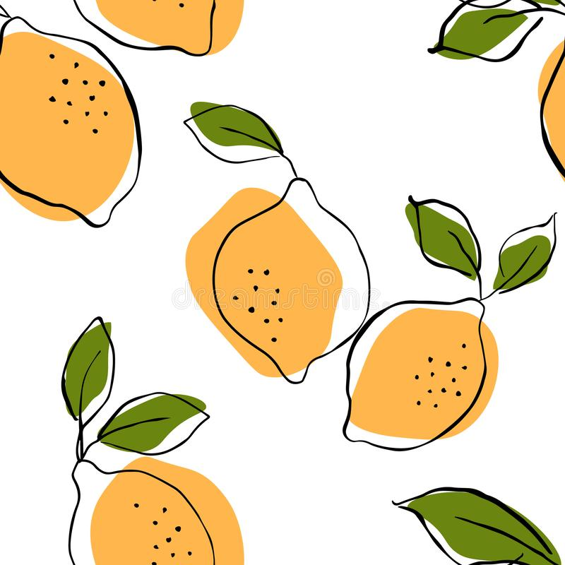 Seamless vector pattern with juicy lemons.Lemons background. Hand drawn overlapping backdrop. Seamless pattern with citrus fruits vector illustration