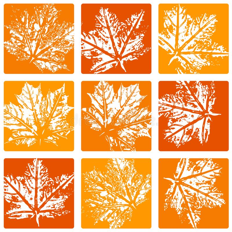 Seamless vector pattern, leaf imprints, autumn colors, natural textures, checkered backdrop stock illustration