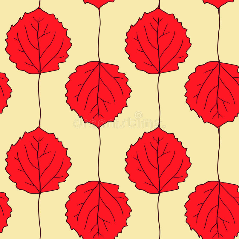Seamless vector pattern with leaves of aspen