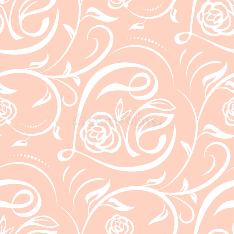 Seamless vector pattern with lettering Love and floral ornament. Texture for valentines Day, wedding, holiday vector illustration