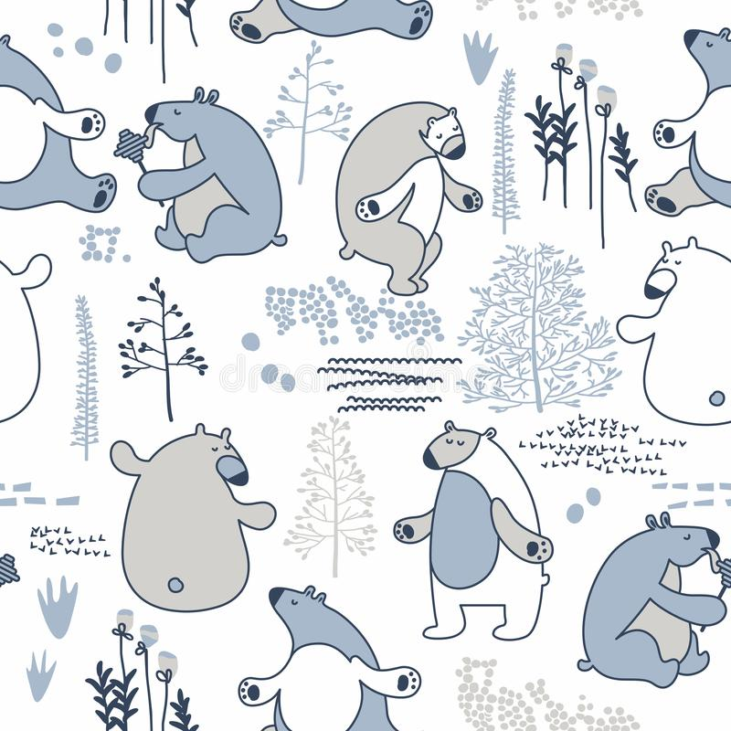 Seamless vector pattern with line art design bears in scandinavian minimalist modern style. stock illustration