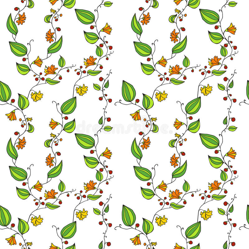 Vector Line Drawing Flower Pattern : Seamless vector pattern with line drawing flowers stock