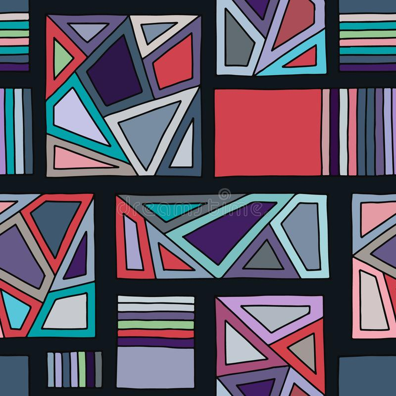 Seamless vector pattern, lined geometric background with rhombus, triangles, lines. Print for decor, wallpaper, packaging, wrappin vector illustration