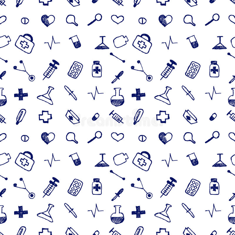 Free Seamless Vector Pattern Medical Tools And Pills, White Chaotic Background With Colorful Pills, Syringe, Thermometer, Bag, Flask.Ha Stock Image - 68277901