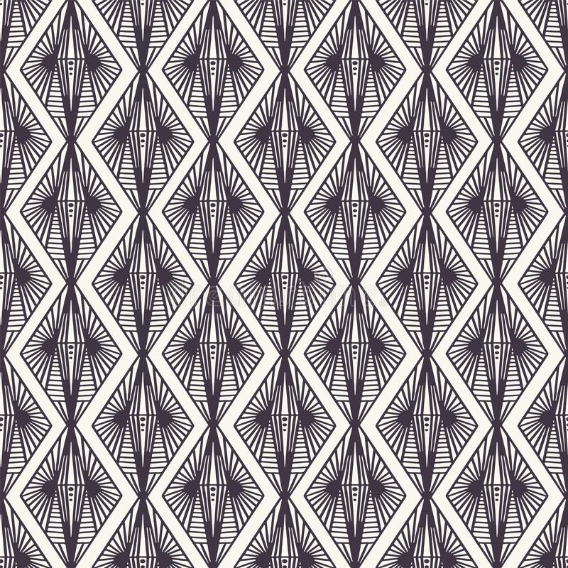 Seamless vector pattern. Modern geometric hand drawn diamond damask. Repeating abstract linear line background. Abstract. Ornamental art deco. Trendy surface royalty free stock image
