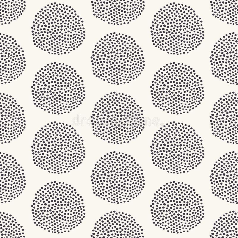 Seamless vector pattern. Modern geometric hand drawn seed circle. Repeating abstract spotty background. Organic polka dot textured stock illustration
