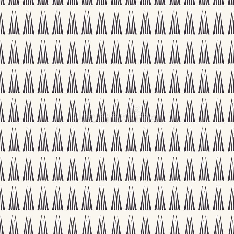 Seamless vector pattern. Modern geometric hand drawn triangle stripes. Repeating simple linear background. Abstract ornamental art stock illustration