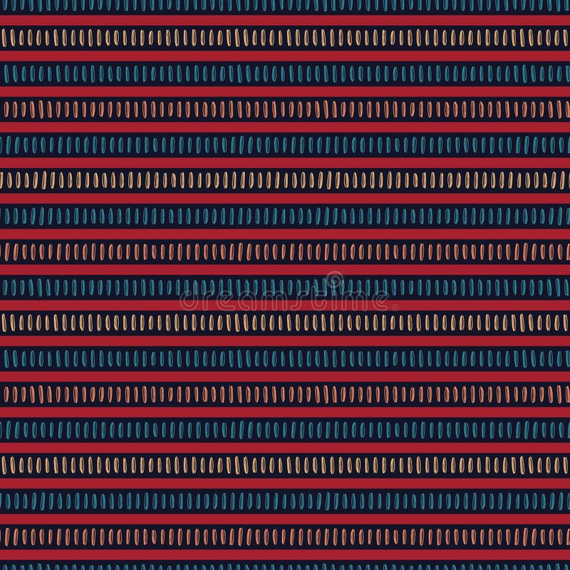Seamless vector pattern. Modern hand drawn broken horizontal stripes. Repeating brush stroke lines background. Abstract folk art. Colors. Trendy surface design stock illustration