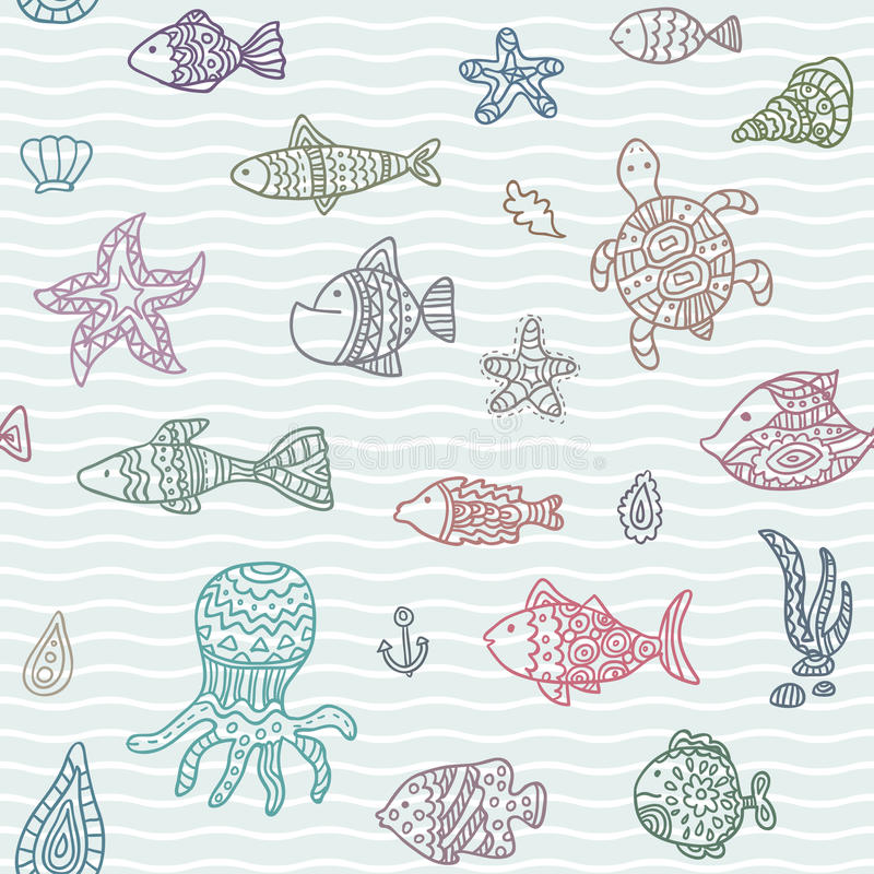 Seamless vector pattern with ocean creatures. Endless texture can be used for printing onto fabric, paper or scrap booking, wallpaper, pattern fills, web page vector illustration