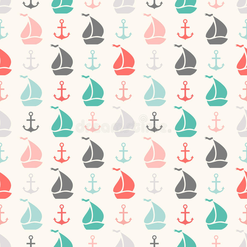 Free Seamless Vector Pattern Of Anchor And Sailboat Royalty Free Stock Photo - 44405115