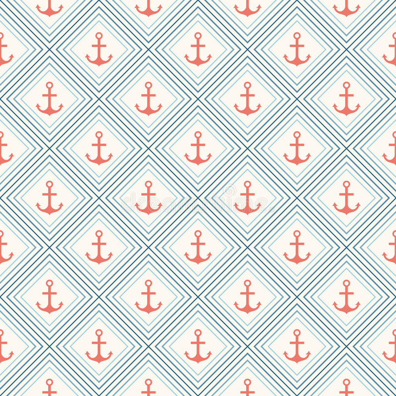 Free Seamless Vector Pattern Of Anchor Shape And Line Royalty Free Stock Images - 42763359