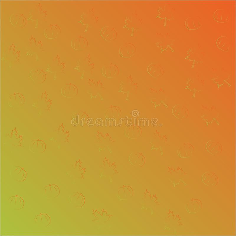 Seamless vector pattern with orange pumpkins and maple leaves, gradient orange green. stock illustration