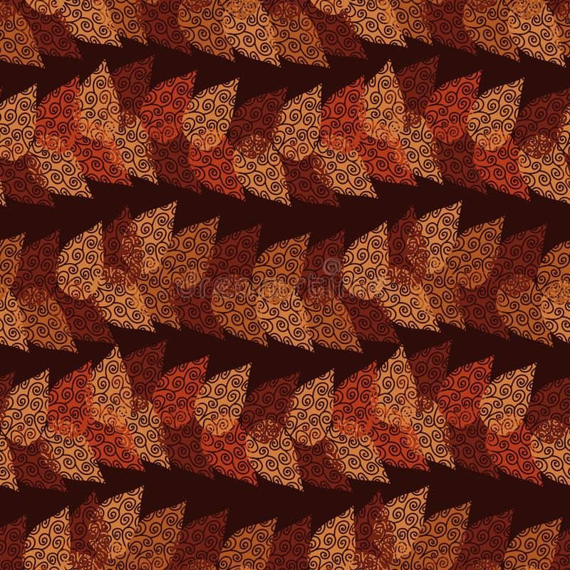 Seamless vector pattern with orange and red autumn leaves forming horizontal stripes on dark background vector illustration