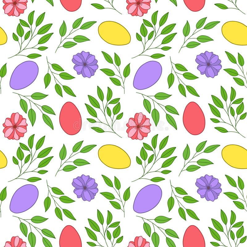 Seamless vector pattern. Painted Easter eggs with leaves, branches and flowers. Design for wrapping paper, card or textile. Objects are drawn by hand on a stock illustration