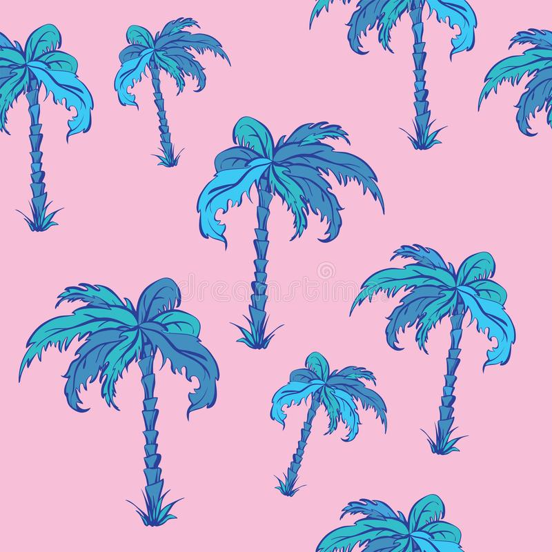 Seamless vector pattern of palms in cartoon style, neon colours royalty free illustration