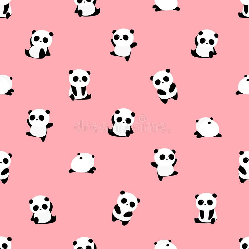 Seamless Vector Pattern: panda bear pattern on light pink background. vector illustration