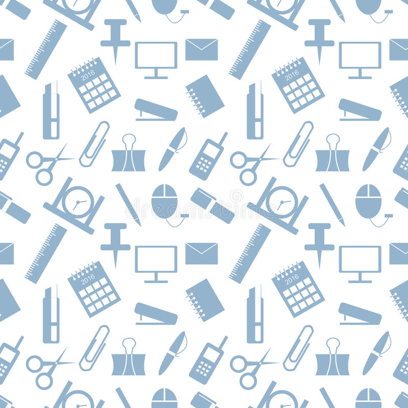 Seamless vector pattern. Pastel background with elements of green office supplies on the white backdrop.  royalty free illustration