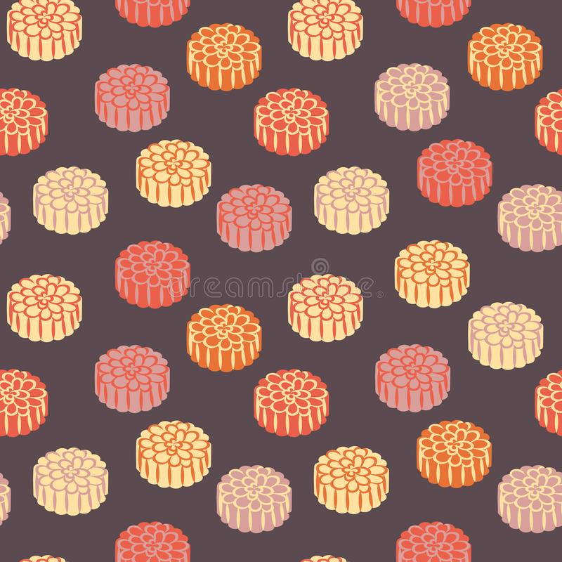 Seamless vector pattern with pastel colored mooncakes on a dark purple background royalty free illustration