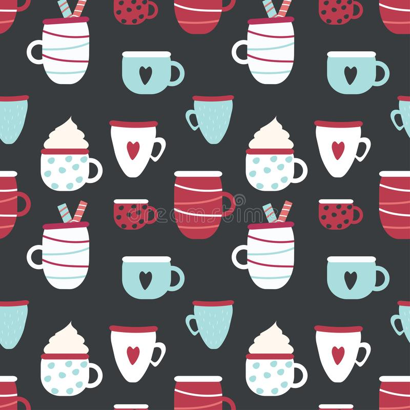 Seamless vector pattern with patterned cups on the dark background. royalty free illustration