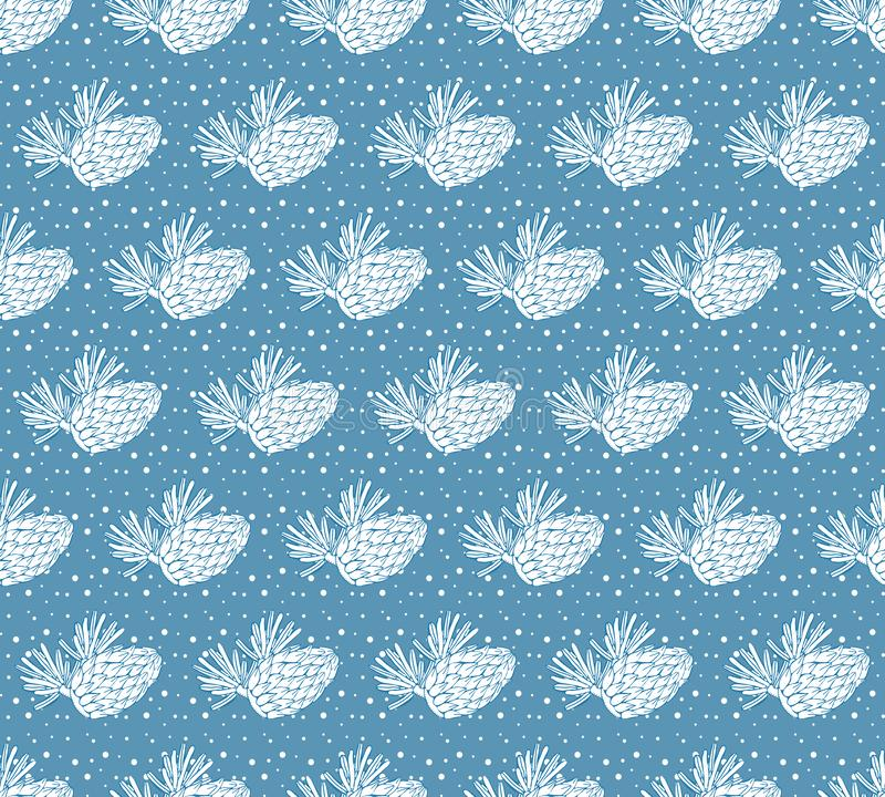 Seamless vector pattern with pine, conifer, cedar cones and branches and falling snow. Hand drawn vector illustration on blue. Background. Forest vintage style stock illustration