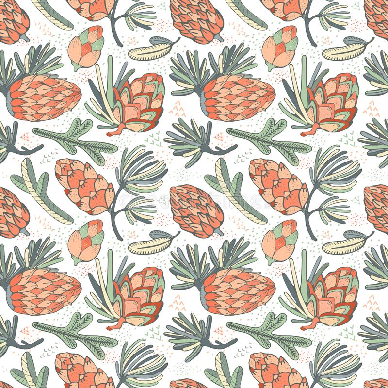 Seamless vector pattern with pine, conifer, cedar cones and branches.Hand drawn vector illustration on white background with. Graphical elements, strokes royalty free illustration