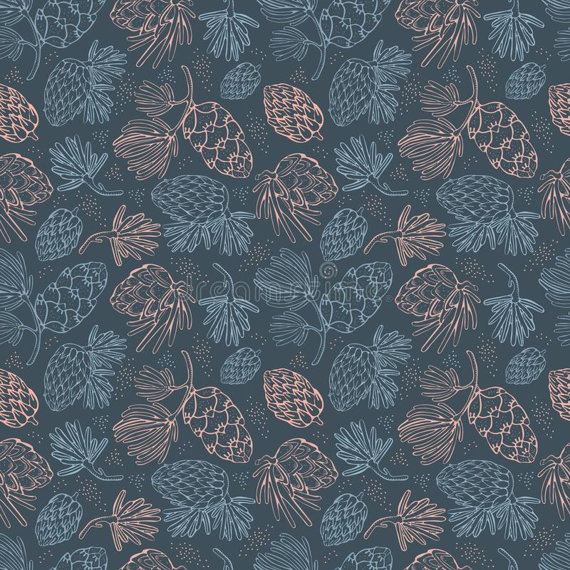 Seamless vector pattern with pine, conifer, cedar cones and branches.Hand drawn vector illustration on dark background with. Graphical elements, strokes, points royalty free illustration