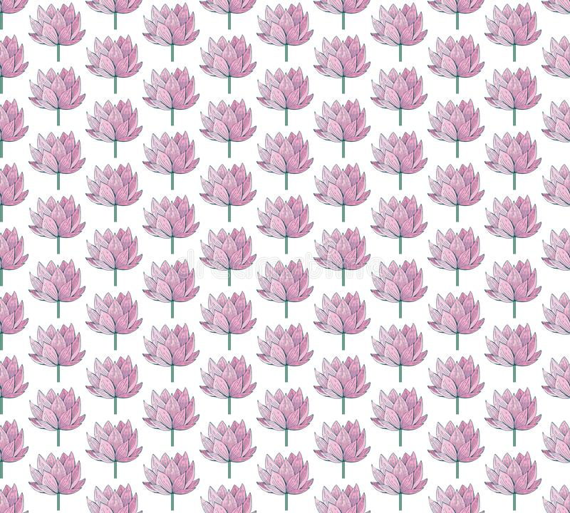 Seamless vector pattern of pink Lotus flowers. Water lily. Vintage style. hand drawn Botanical illustration. Good design for. Printing, postcard, Wallpaper stock image