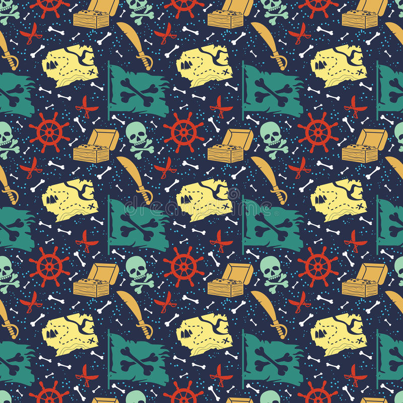 Seamless vector pattern with pirate stuff royalty free illustration