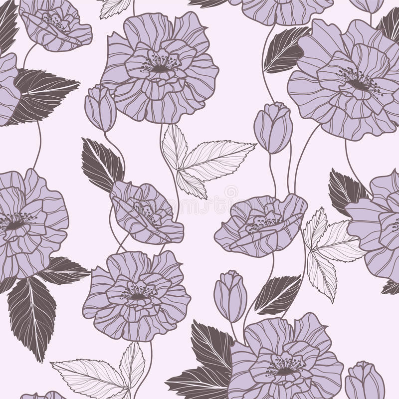Seamless Vector Pattern With Poppy Flowers Stock Photo