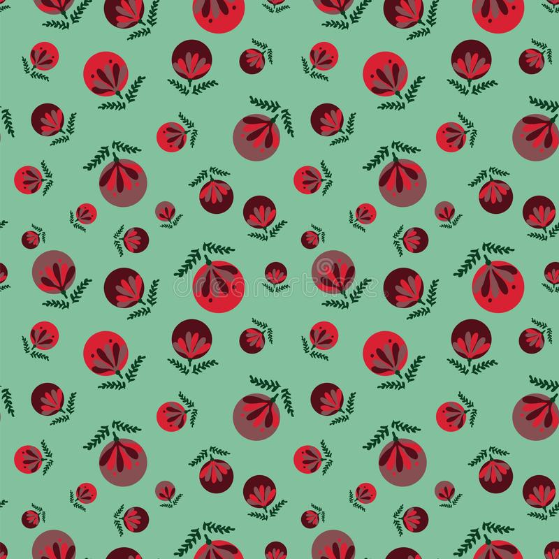 Seamless vector pattern with red christmas baubles on green background. A seamless vector pattern with red christmas baubles on green background. Surface print stock illustration