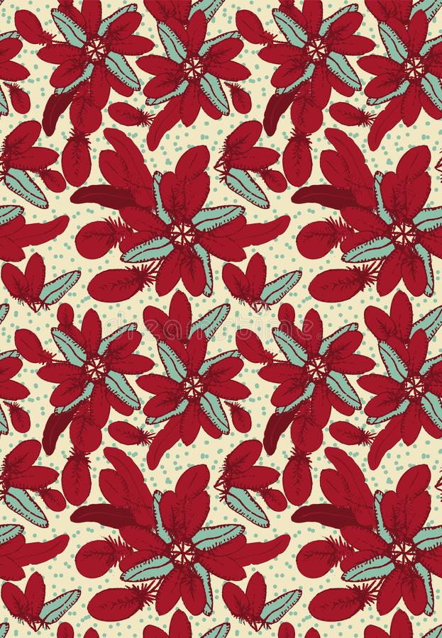 seamless vector pattern with red feathers arranged into floral poinsettia shapes royalty free illustration