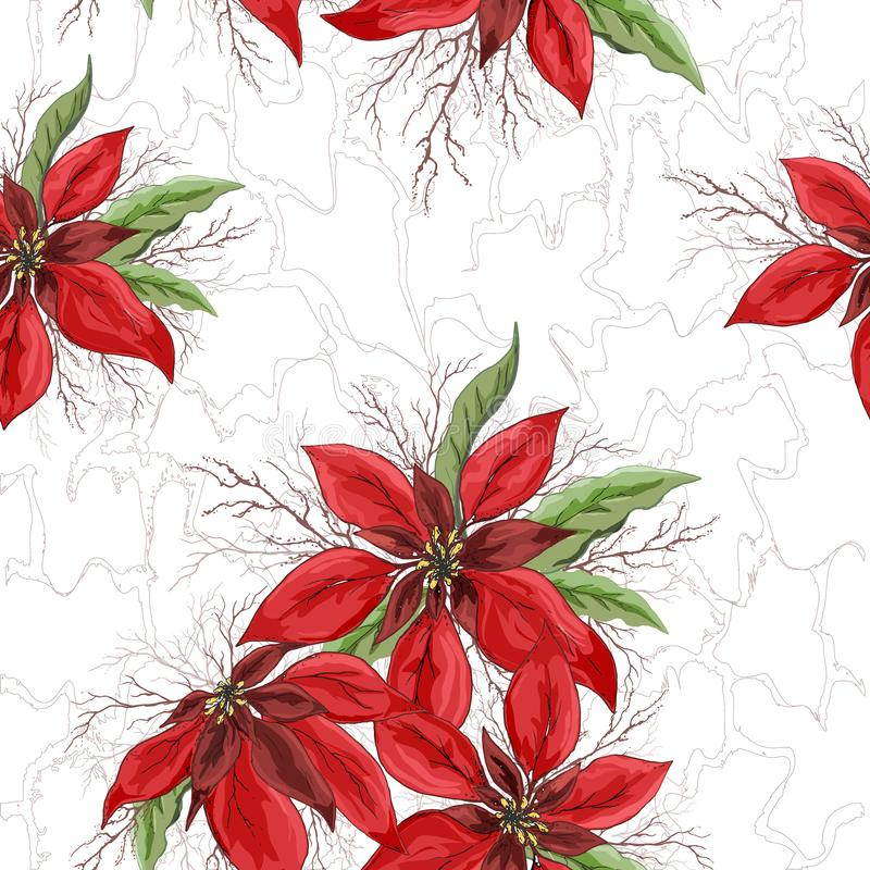 Seamless vector pattern of red poinsettia flowers. hand-drawn Doodle in realistic style, close-up. modern design for paper, stock images