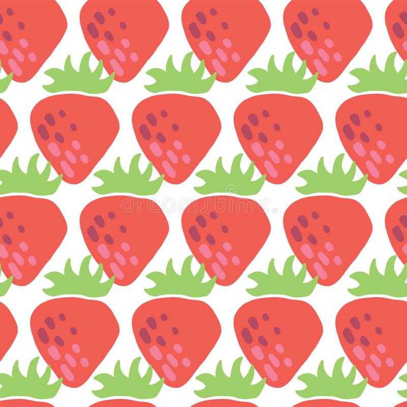 Seamless vector pattern red strawberries on white background. Vintage inspired strawberry fruit design for fabric, paper, royalty free illustration