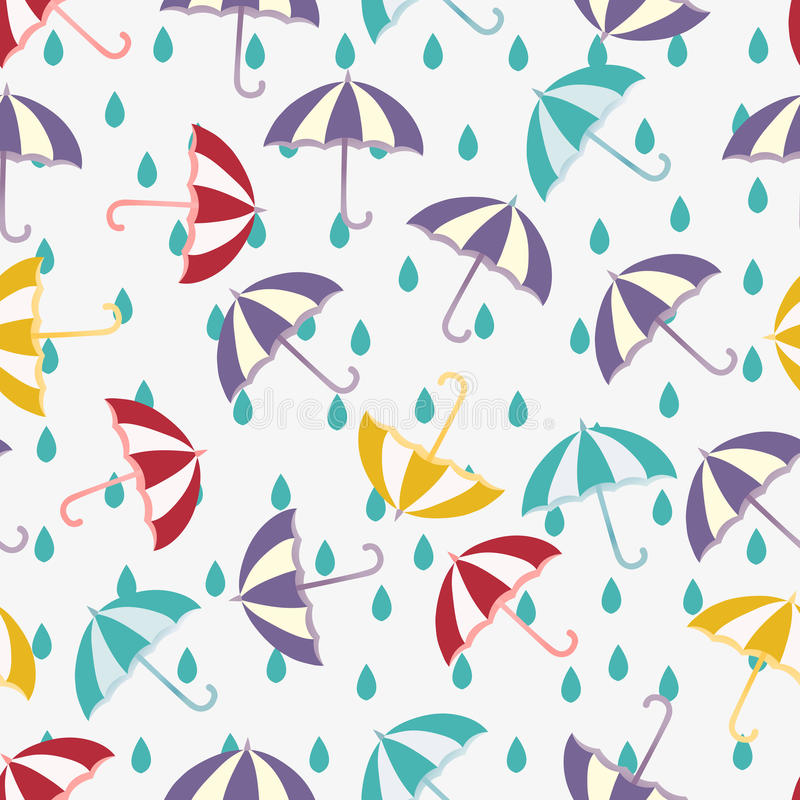 Seamless vector pattern with red, yellow, purple umbrellas and blue drops. Cute spring background. Cartoon weather royalty free illustration