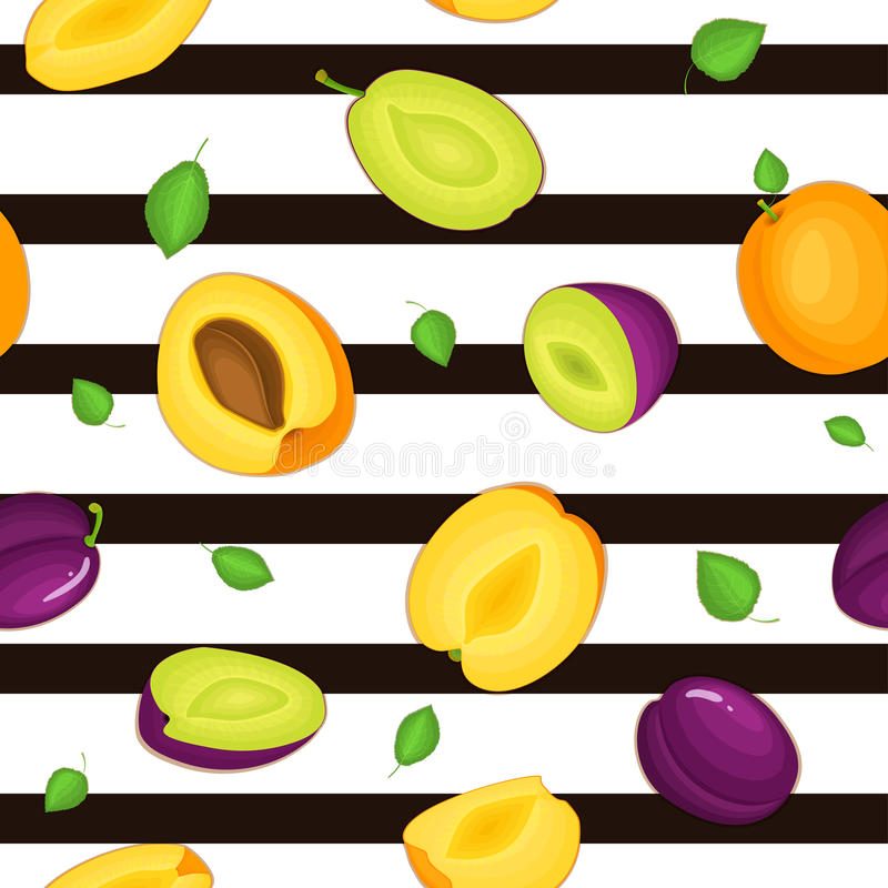 Seamless vector pattern of ripe plum apricot fruit. Striped background with delicious juicy plums apricots whole leaf vector illustration